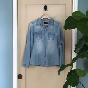 Cavalini denim collection button up chambray top